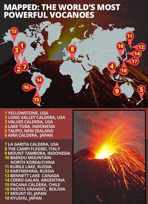 Dónde están los supervolcanes en el mundo