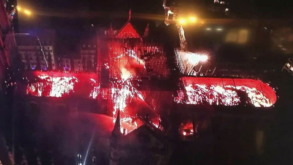 notre dame burning from air